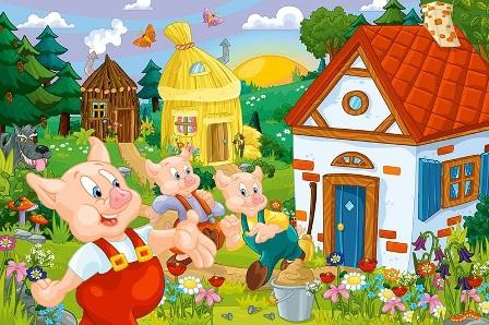Ngày xửa ngày xưa ở giữa một khu rừng già có một gia đình lợn. Ngoài lợn bố  và lợn mẹ ra còn có ba chú lợn con.